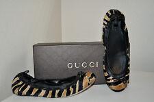 NIB Gucci GG  Charlotte Pony Animal Print Ballet Flat Shoes Sz 39 Caramel Black