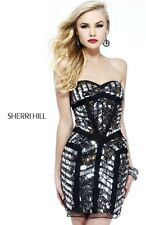 Sherri Hill 21195 Black Gunmetal Sequined Cocktail Dress sz 0