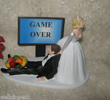 Wedding Reception Party Funny Homorous Game Over Sign Bowl of Fruit Cake Topper