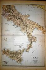 1882 LARGE VICTORIAN MAP ~ ITALY SOUTH PART ~ SICILY ~ INSET MALTESE ISLANDS