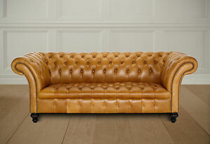 BELMONT VINTAGE TAN CHESTERFIELD SOFA  BUTTON SEAT BASE RUSTIC COUCH