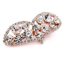 Bridal Gold Heart White Rhinestones Hair Accessories Wedding Clip Pin HA106