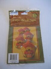 Momentum Brands 192342 Yellow Turkey Cupcake Paper Wraps 2in.Diam.12 Count NWWT