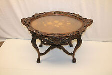 Gorgeous Chippendale Inlaid Heavily Carved Walnut Tray Top Coffee Table, c. 1930
