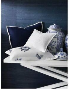 Ralph Lauren Blanc Bleu Branford Pair Euro Shams Linen Navy Blue $370 White Trim