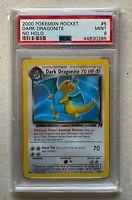 WOTC 2000 Pokemon Team Rocket Dark Dragonite No Holo Error PSA 9 MINT #5/82