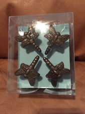 Cynthia Rowley Drawer Pulls Handles Knobs Dragonfly Set/4 Metal Antique Gold