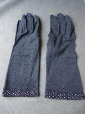 Vintage hand beaded cotton dark blue gloves Size 6 1/2 Hong Kong
