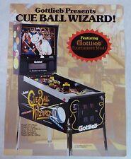 "1992 Gottlieb ""Cue Ball Wizard"" Pinball Machine Flyer/Brochure Original"