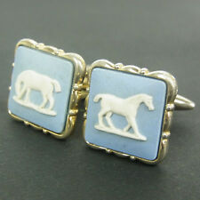 Auth WEDGWOOD Square  Blue Jasper ware Cuffs Cufflinks Made in England F/S 363