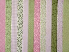 24 JELLY ROLL STRIPS 100% COTTON PATCHWORK FABRIC PINK / GREEN 22 INCH LONG