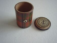 ANTIQUE TARTAN WARE THREAD BOX - CLARK & Co. - LABELS INSIDE & OUT - BONE EYE