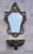 Set Oro Negro Espejo de pared con Soporte CONSOLA 50x76 antigua Barroco