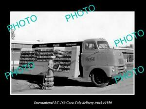 OLD 8x6 HISTORIC PHOTO OF INTERNATIONAL LC-160 COCA COLA DELIVERY TRUCK c1950