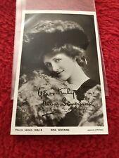 SIGNED British Actress Singer Comedian Nina Sevening Vintage Photo Postcard 1908