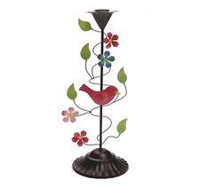 Birds & Flower Single candlestick candle holder metal coloured floral decoration