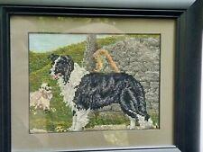 Sheltie Shetland Sheepdog Finished Cross-stitch, Handmade, Custom Framed, Dog