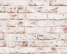 REALISTIC TEXTURED RED WHITE BRICK WALL FEATURE WALLPAPER A.S.CREATION 907813