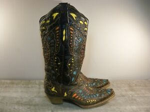 Corral Women's A1928 Butterfly Cowboy Western Distressed Leather Boots Size 7.5