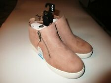 NEW Shoes Time & Tru Ladies Blush Wedge Sneakers Dual Zippers Memory Foam NWT