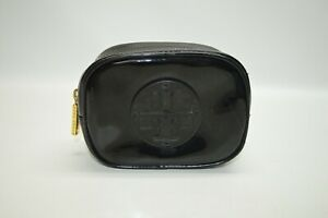 Tory Burch Black Patent Leather Cosmetic Bag Small Case Travel