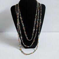 "Vintage Flapper 35.25"" Long Necklace Mini Bugle Beads Rainbow Gold Silver Balls"