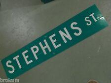 "Vintage ORIGINAL STEPHENS ST STREET SIGN 42"" X 9"" WHITE LETTERING ON GREEN"
