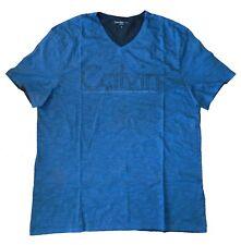 Calvin Klein Jeans Men's Scratch Logo-Print V-Neck T-Shirt Superior Blue XL New
