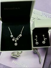 Authentic Pandora Forget Me Not Valentines Necklace and Earrings NWT S925 ALE