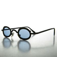 Small Oval Blue Lens Spectacle Vintage Sunglass  - Desert