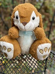 Dandee plush Bunny Rabbit Easter Dan Dee Brown/tan and white big feet blue bow