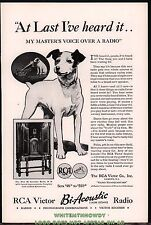 1932 RCA VICTOR R-78 Console Radio AD w/large image of Nipper