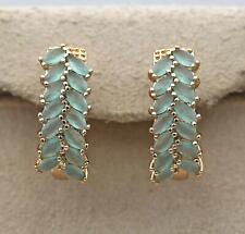 18K Gold Filled Earrings Multilayer Leaf Sapphire Jade Topaz Hoop Women Party DS
