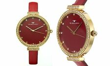 NEW Tavan Dori 10032 Women's Red/Gold Leather Band Swarovski Crystal Bezel Watch