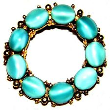 VINTAGE  GOLD TONE  MOON GLOW BLUE COLOR GLASS PIN BROOCH