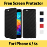 For iPhone 6 6s Luxury Carbon Fiber Soft TPU Thin Back Case Cover + Film Guard