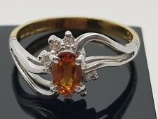 Irish Hallmarked 18ct Citrine &  Diamond White & Yellow gold  ring size N