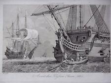 GRAVURE ANCIENNE 19e -   AVANT D'UN VAISSEAU ANCIEN 1660