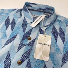 Tommy Bahama Men's Small Geo Celeste Geometric Cotton Silk Blend Hawaiian Shirt