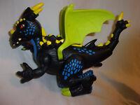 "Imaginext 2005 Mattel Black Winged Dragon Flapping Roaring Toy 13"""