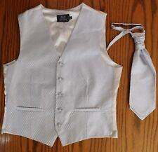 Mens wedding waistcoat cravat set Chest size 42 Large silver tuxedo vest F&F