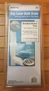 "Watts 94CP Trip Lever Bath Drain Nickel Trim Fits Standard Tubs 12"" - 15""- *F6*"