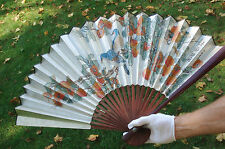 Very Beautiful Chinese Folded Paper Wood Wall Fan.