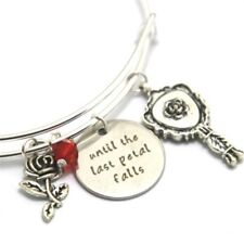 BEAUTY AND THE BEAST UNTIL THE LAST PETAL FALLS WIRE BANGLE CHARMS BRACELET