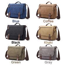 """Men Leather Canvas 15"""" Laptop Handbag Shoulder Messenger Bag Business Briefcase"""