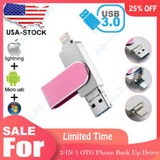 256 128 GB USB 3.0 Flash Drive 3IN1 OTG Phone Bakcup Photo Stick for iPhone US
