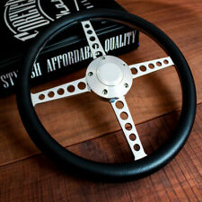 """14"""" Polished Lakester Black Half Wrap Steering Wheel Chevy Muscle C10  Hot Rod"""
