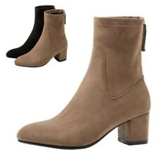 Women Outdoor Casual Comfort Back Zipper Round Toe Chunky Heel Ankle Boots New L