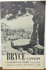 1954 Bryce Canyon National Park Cedar Breaks Utah vintage info brochure map b