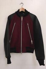 Monitaly Heavy Wool Raglan Jacket Maroon & Black Leather Size 40 Made In USA NWT